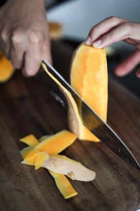 Cutting the butternut squash