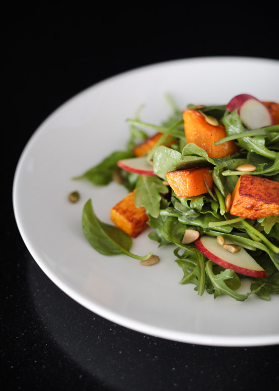 Roasted Butternut Squash & Apple Salad with Honey Dijon Dressing