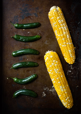 Grilling corn and jalapenos
