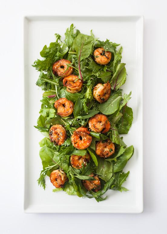 Sauteed Garlic & Herbs Prawns Salad