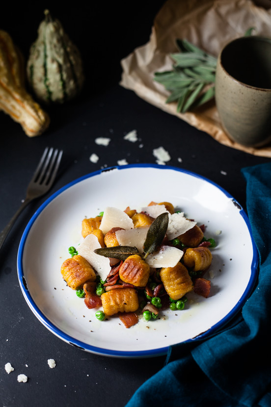 Pumpkin Gnocchi with Bacon and Peas