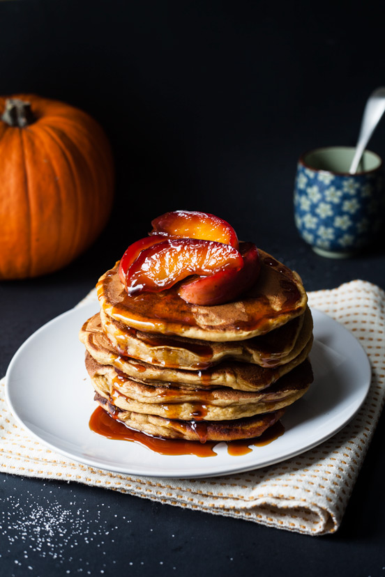 Pumpkin Pancakes with Salted Caramel Apple Sauce