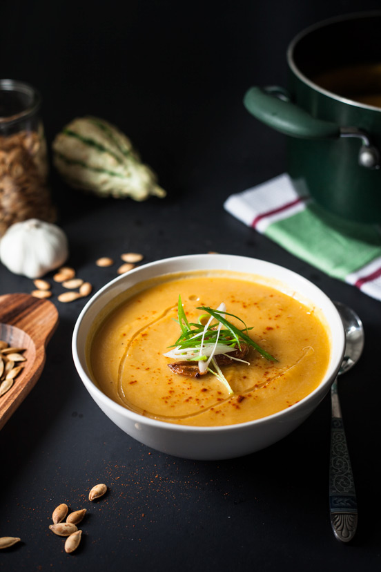 Roasted Garlic, Pumpkin and Leek Soup