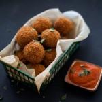 Potato Cheese Balls and Tomato Marjoram Dip