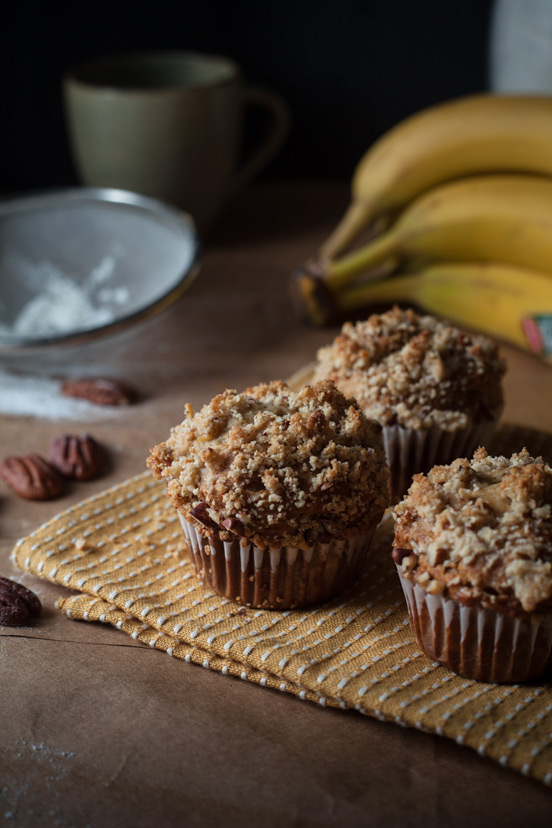 Banana Peanut Muffins with Pecan Streusel