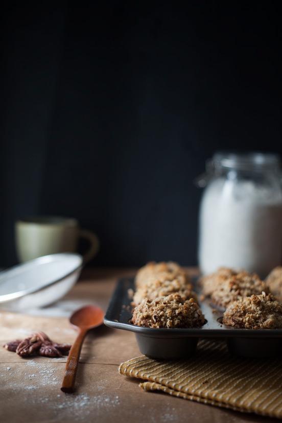 Banana Peanut Muffins with Pecan Streusel